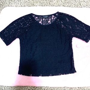 TOPSHOP black lace top - like new condition- sz S